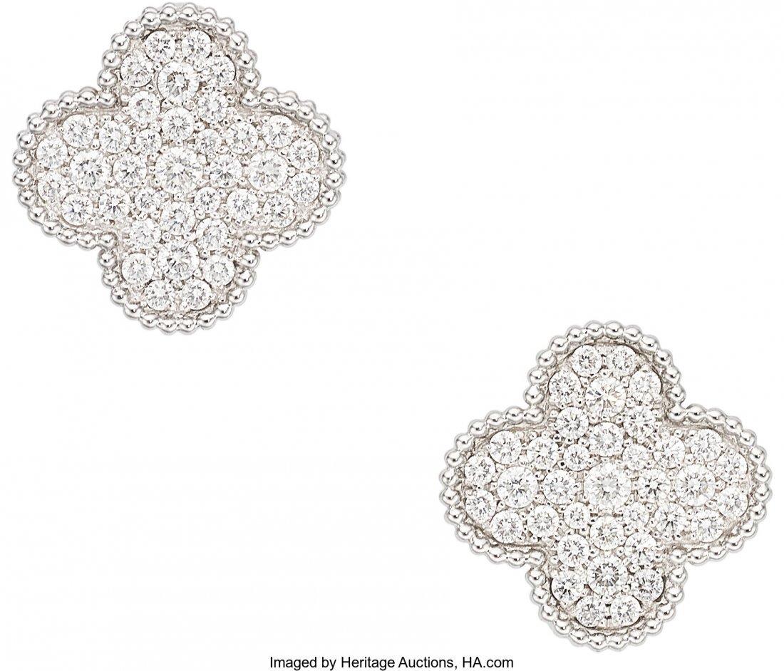 55326: Diamond, White Gold Earrings, Van Cleef & Arpels