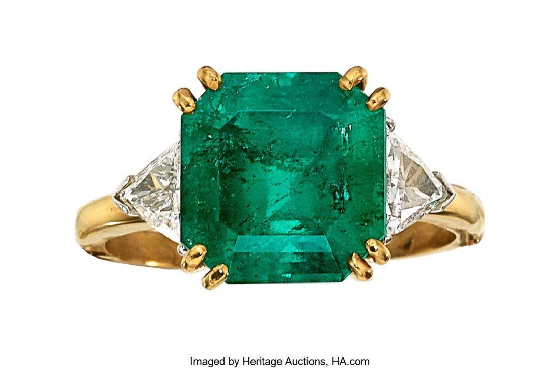 55327: Colombian Emerald, Diamond, Platinum, Gold Ring
