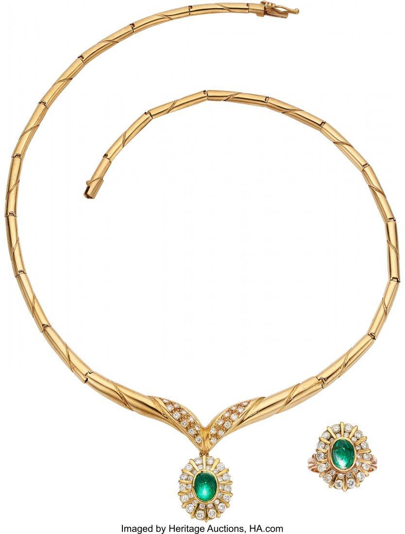 55154: Emerald, Diamond, Gold Jewelry Suite  The suite