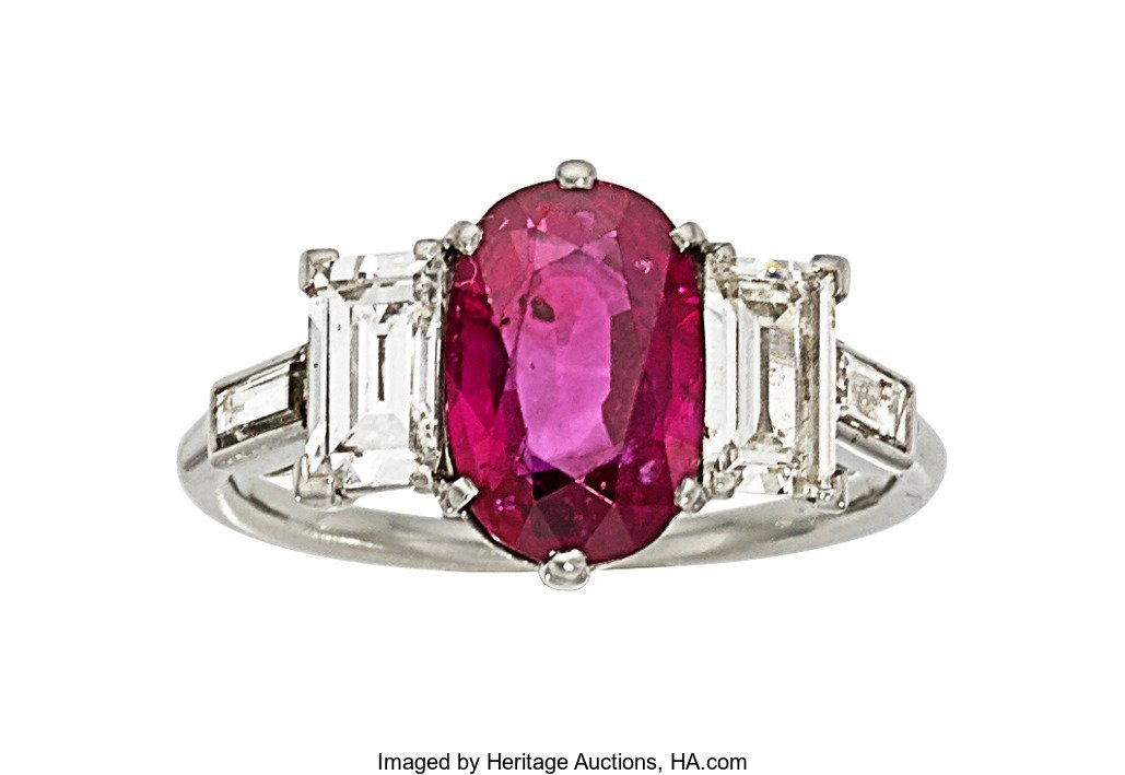 55333: Ruby, Diamond, Platinum Ring   The ring features