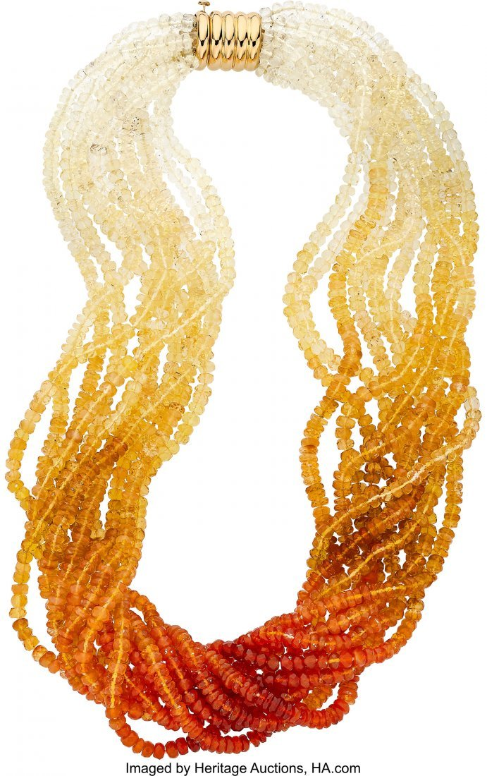 55066: Opal, Gold Necklace, Frank Ancona  The necklace