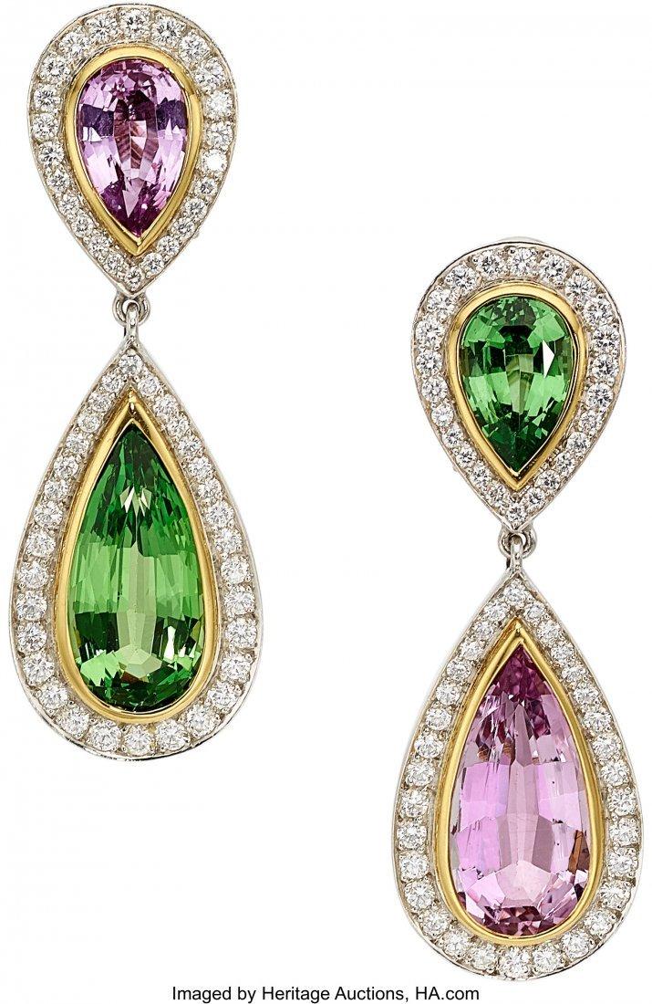55157: Multi-Stone, Diamond, Platinum, Gold Earrings, P