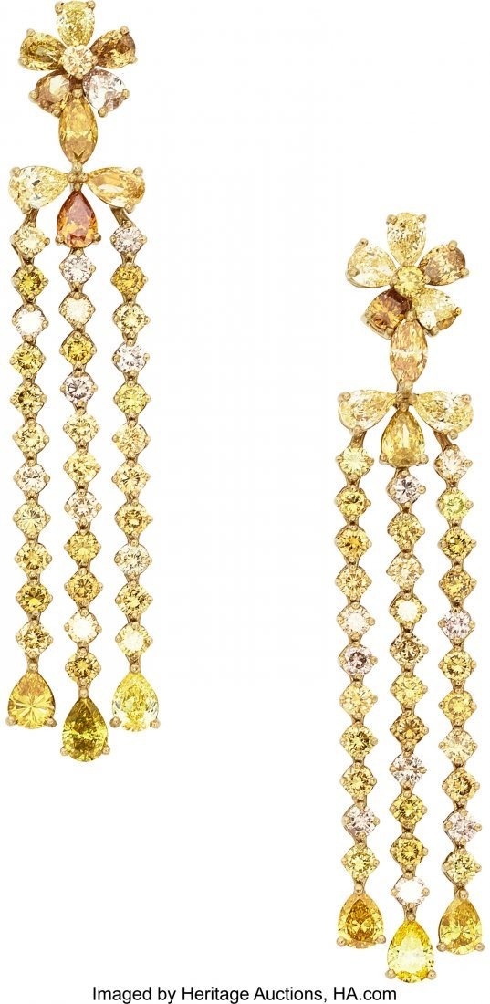 55068: Multi-Color Diamond, Gold Earrings, Assil  The e