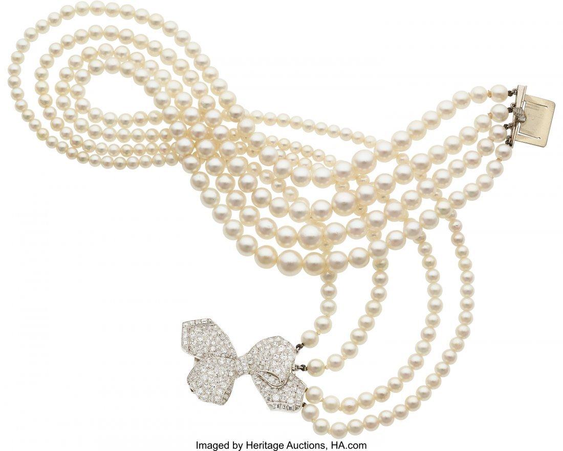 55160: Cultured Pearl, Diamond, Platinum Necklace, Lacl