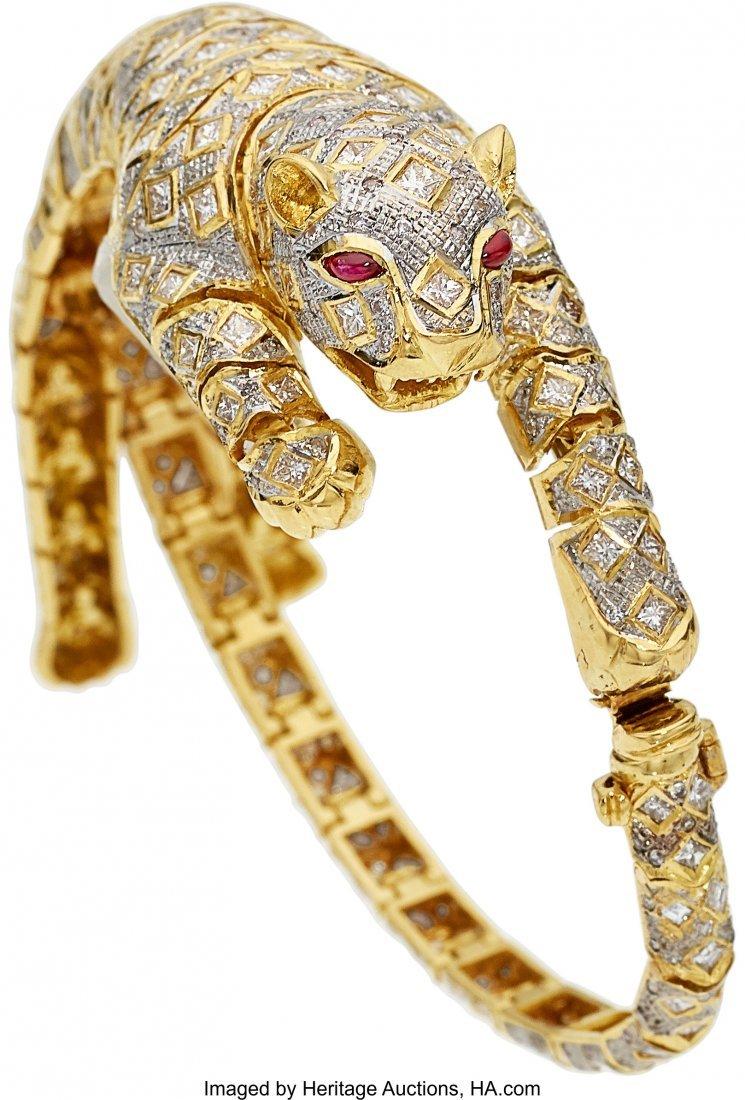 55070: Diamond, Ruby, Gold Bracelet-Brooch  The convert