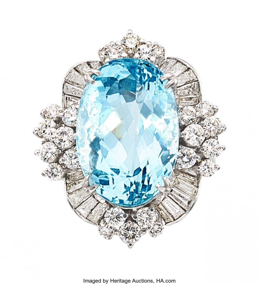 55161: Aquamarine, Diamond, Platinum Ring  The ring fea