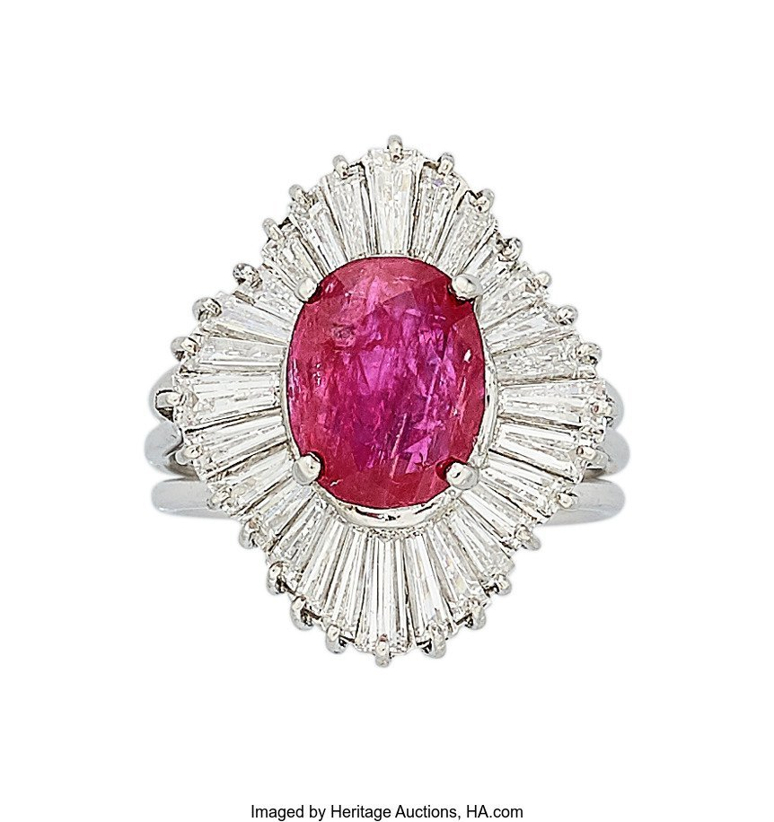 55338: Burma Ruby, Diamond, Platinum Ring  The ring fea