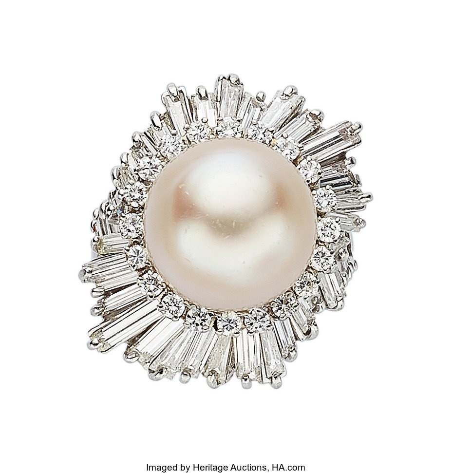 55162: South Sea Cultured Pearl, Diamond, Platinum Ring