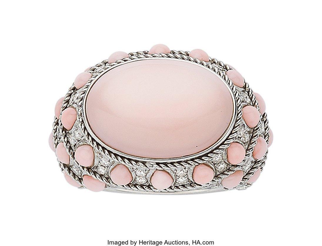 55073: Coral, Diamond, White Gold Ring, Piranesi  The r