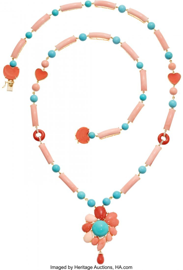 55163: Multi-Stone, Diamond, Gold Necklace  The necklac
