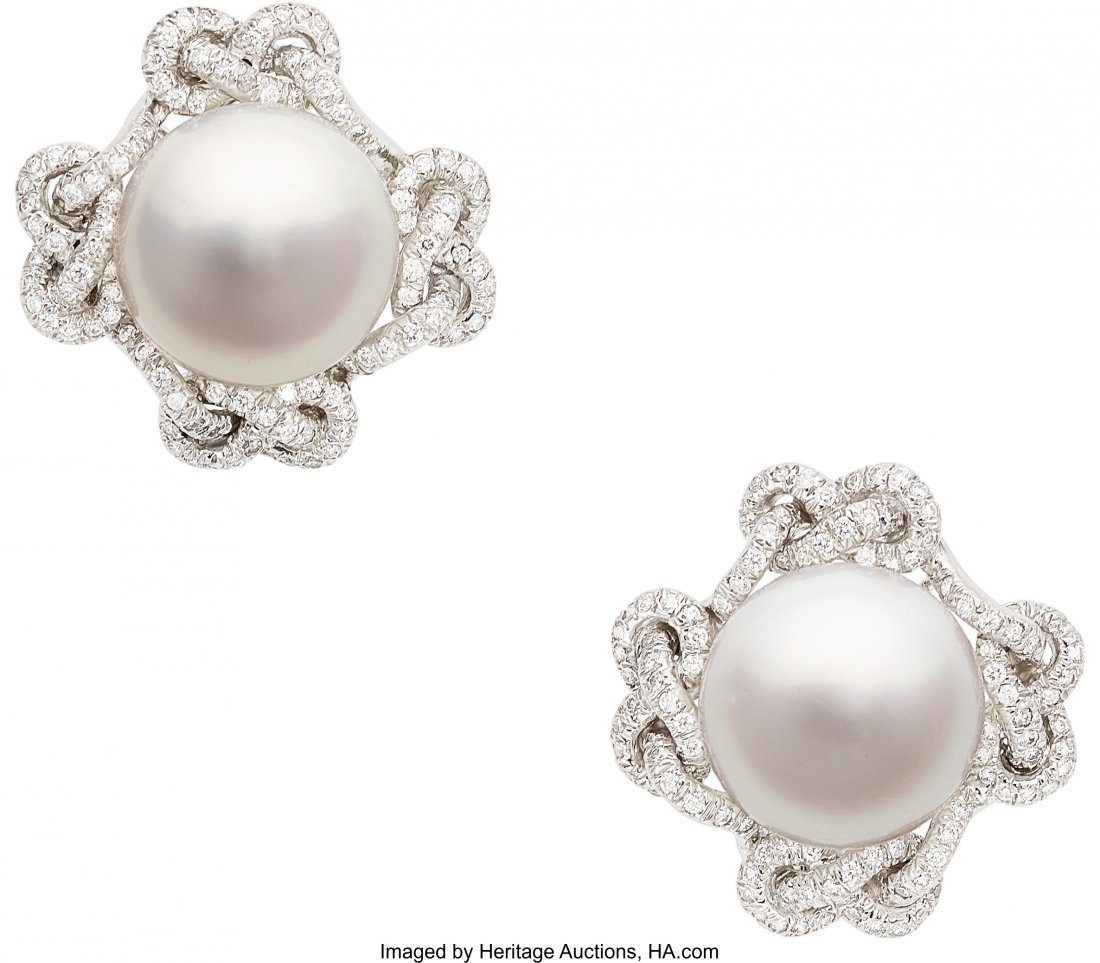 55343: South Sea Cultured Pearl, Diamond, White Gold Ea