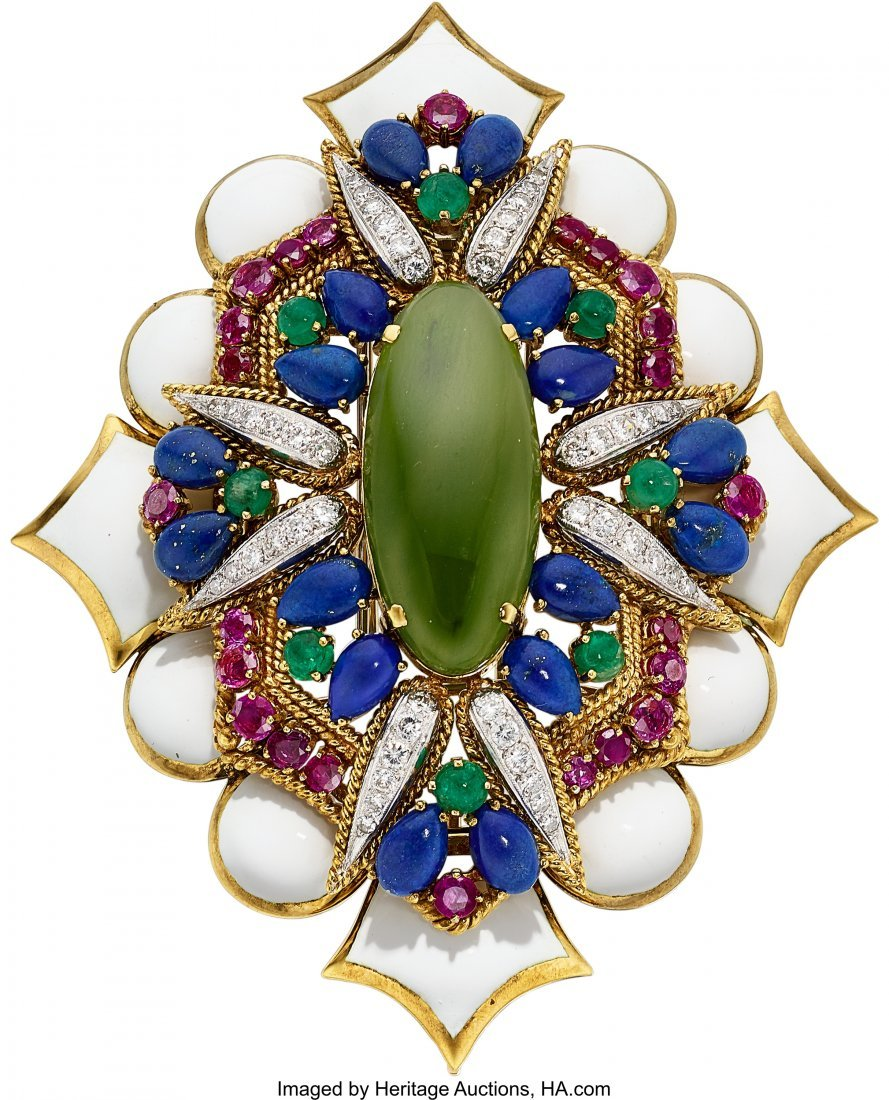 55078: Multi-Stone, Diamond, Enamel, Gold Pendant-Brooc