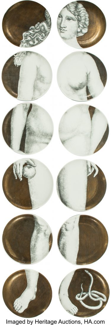 67145: Piero Fornasetti (Italian, 1913-1988) Eva Plates