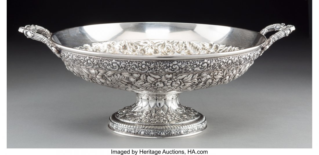 74119: A Tiffany & Co. Silver Floral Repoussé Two-Hand