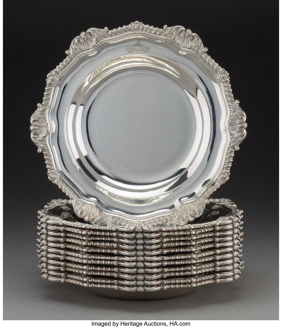 74004: Twelve Paul Storr George III Silver Soup Plates,