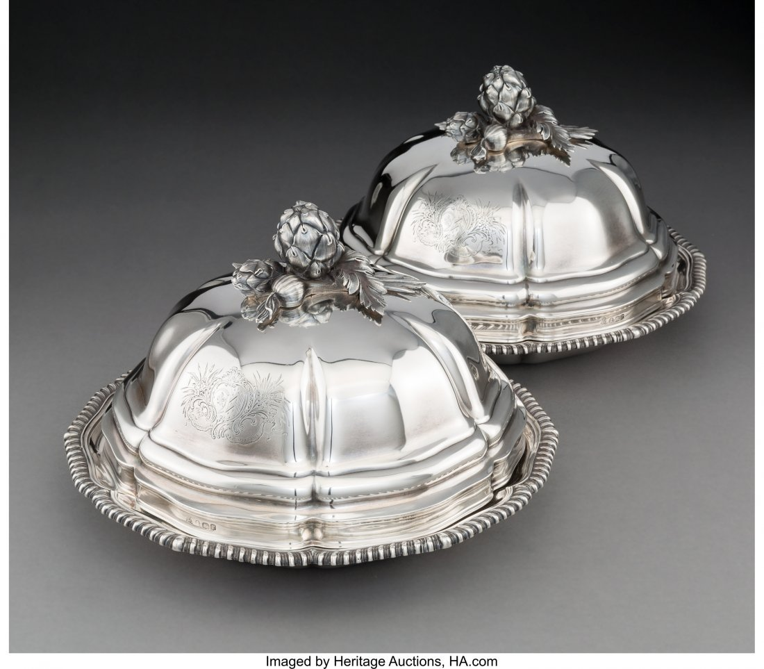 74007: A Pair of R & S Garrard & Co. Silver Covered Veg