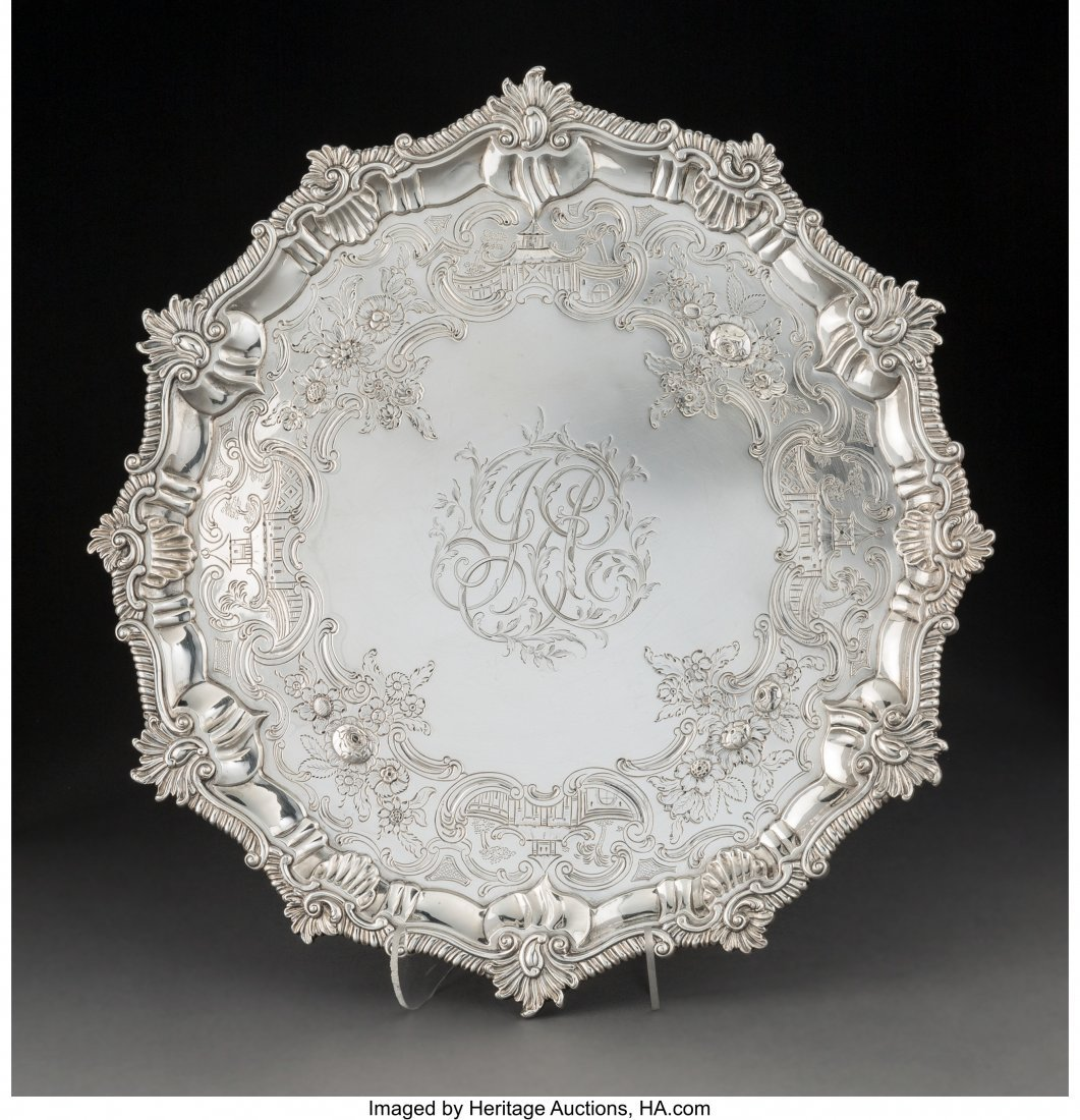 74009: An Ebenezer Coker Silver Salver with Engraved Ch