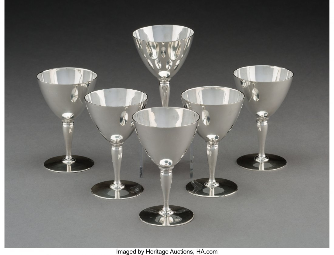 74181: Six Tiffany & Co. Faneuil Pattern Cordial Cups,