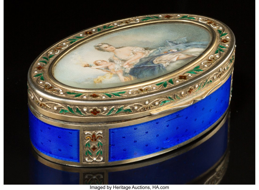 74066: A French Partial Gilt Silver and Enamel Snuff Bo
