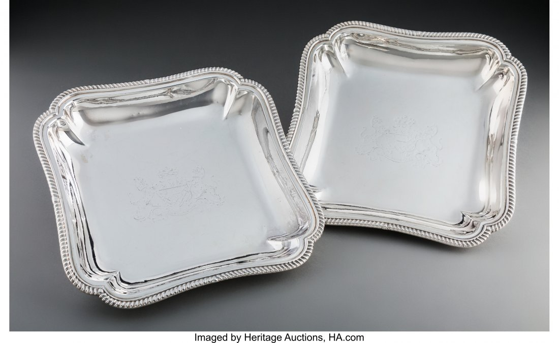 74011: A Pair of James Young George III Silver Entree D