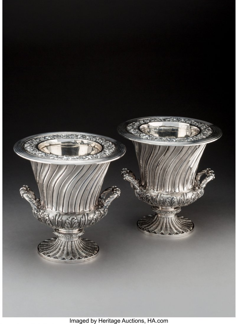 74015: A Pair of Robert Hennell II Silver Wine Coolers,