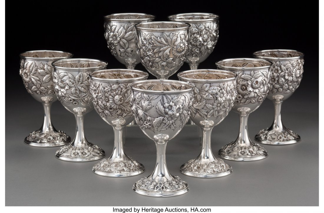 74132: A Group of Ten S. Kirk & Son Inc. Silver Floral