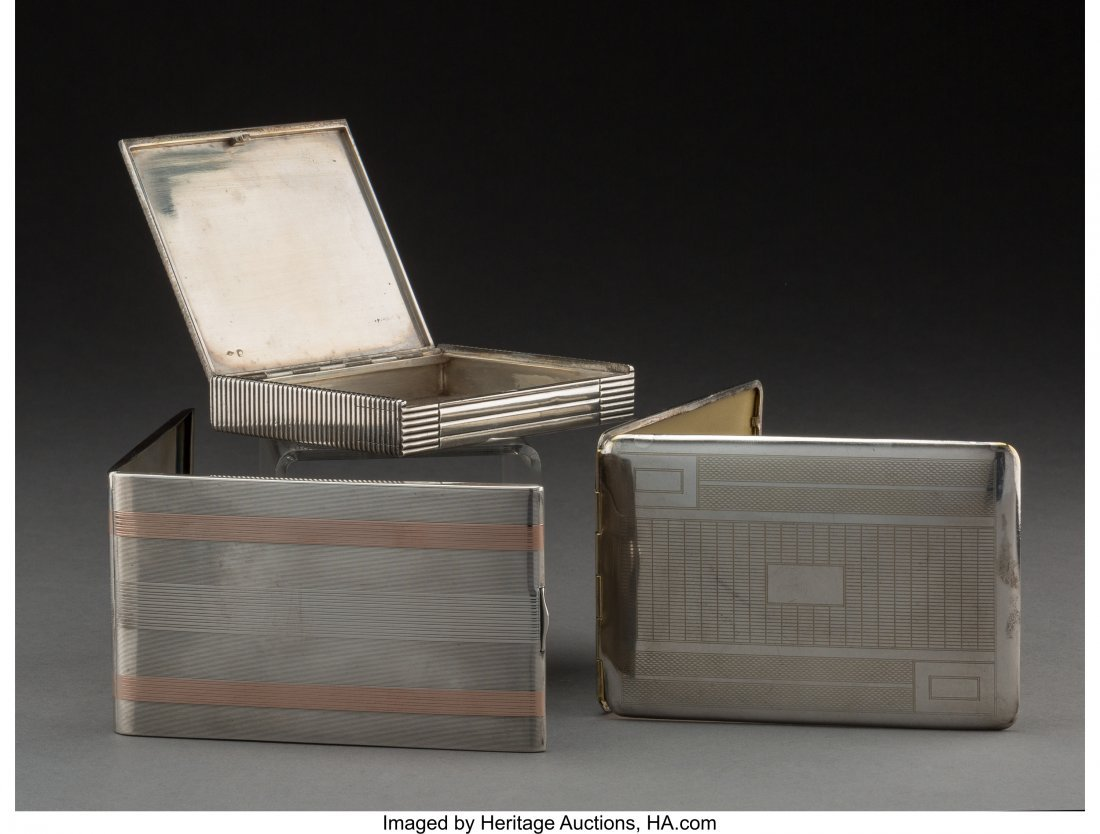 74074: A Napier 14K Gold and Silver Cigarette Case with