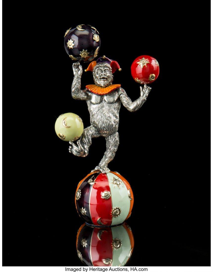 74076: A Tiffany & Co. Silver and Enamel Juggling Circu