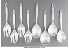 74191: Four Pairs of Georg Jensen Acorn Pattern Silver