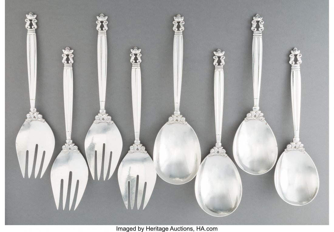 74191: Four Pairs of Georg Jensen Acorn Pattern Silver