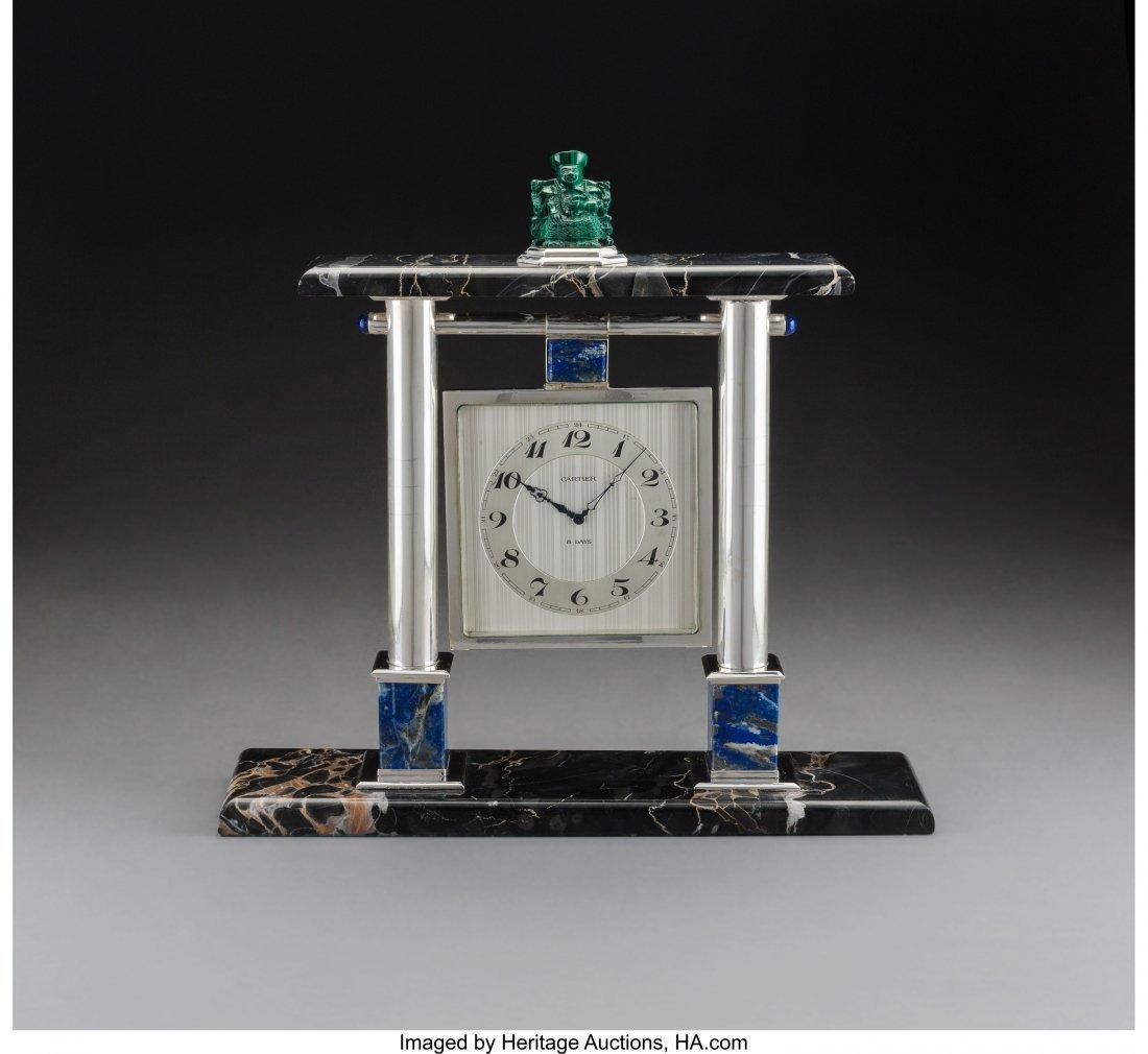 74080: A Cartier Silver, Lapis Lazuli, Malachite, and M