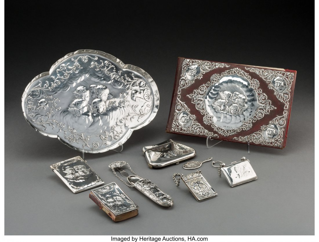 74140: Nine English Silver and Silver-Plated Personal W