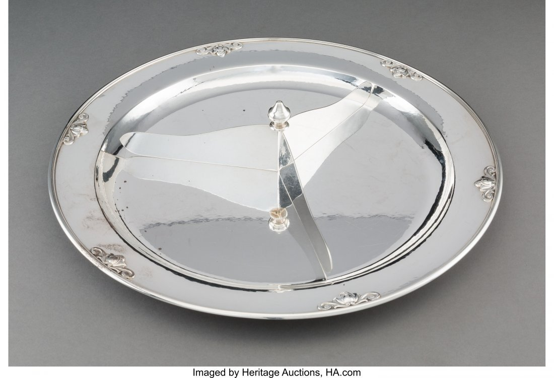 74195: A Georg Jensen Acorn Pattern Serving Platter wit