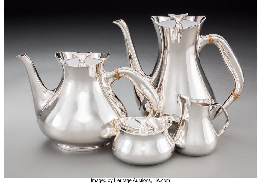 74196: A Four-Piece Spritzer & Fuhrmann Silver Tea and