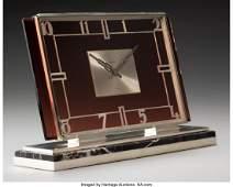 74082: A Cartier Art Deco Silver and Amethyst Glass Man
