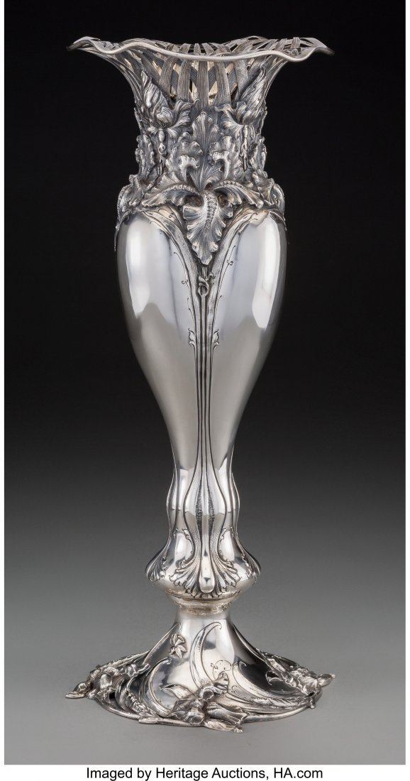 74143: An American Art Nouveau Silver Vase Attributed t