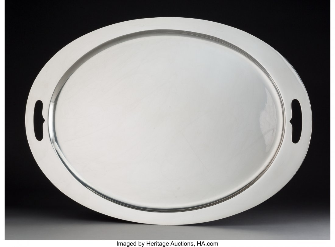 74198: An American Modernist Silver Serving Tray, mid-2
