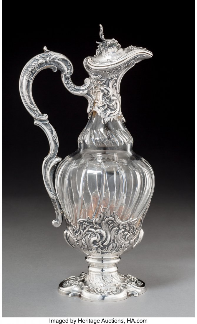 74038: A French Cut-Glass and Silver-Mounted Glass Ewer