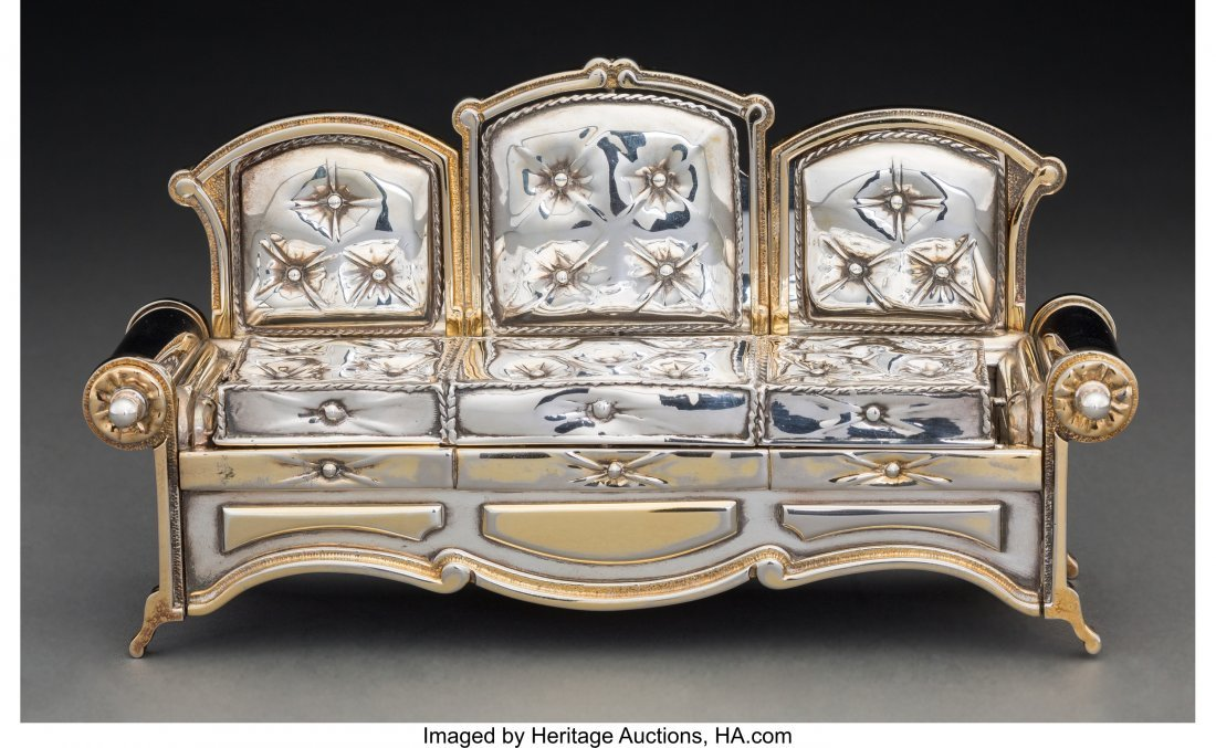 74090: A Yossi Swed Partial Gilt Silver Sofa-Form Menor