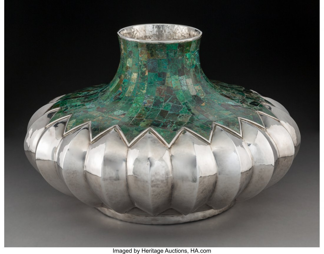 74205: A Large Los Castillo Silver-Plated and Malachite