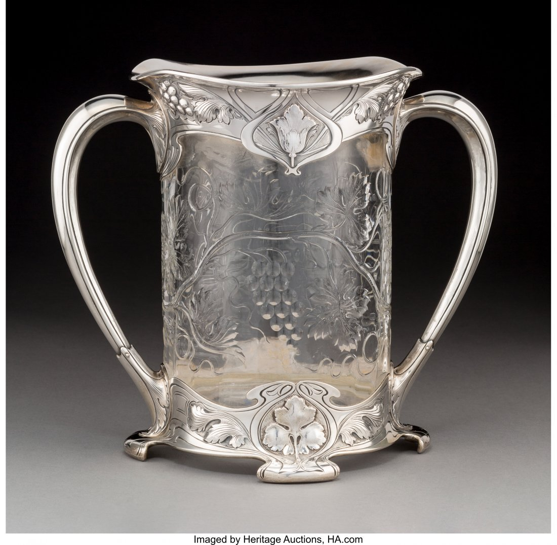 74156: A Gorham Athenic Cut-Glass and Silver-Mounted Tw