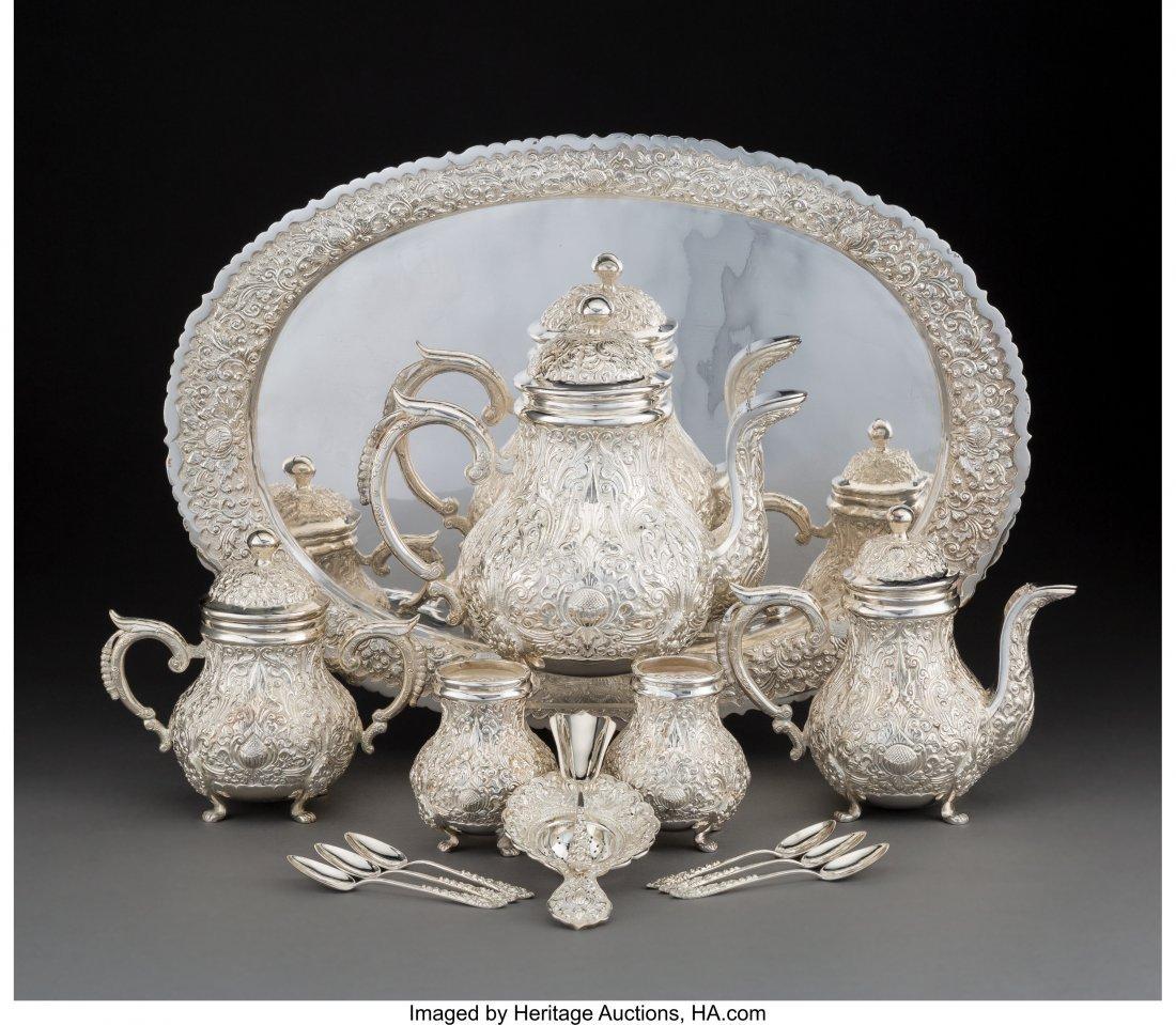 74093: A Fourteen-Piece Indonesian Yogya Silver Tea Ser