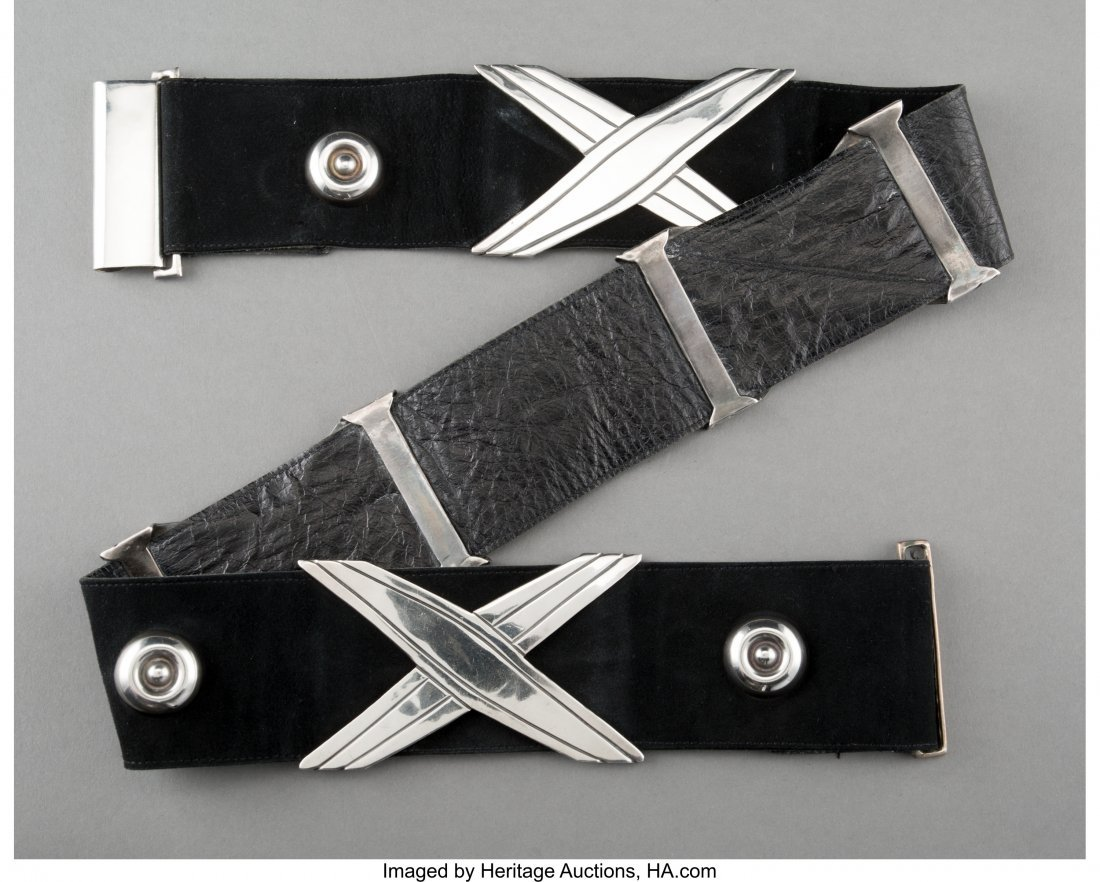 74210: An Early Hector Aguilar Silver and Black Suede B