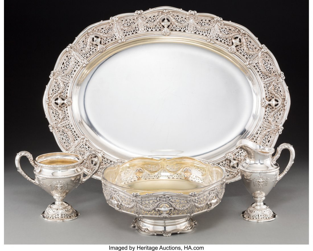 74160: A Shreve & Co. Silver Tray, Centerpiece Bowl, Su