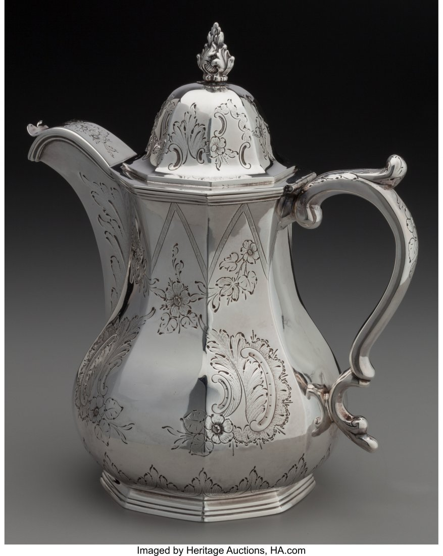 74096: A William Gale & Son Coin Silver Coffee Pot, New