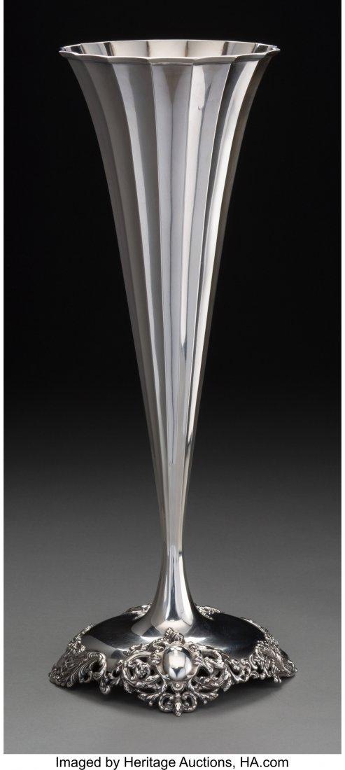 74163: An American Silver Trumpet Vase, circa 1930 Mark