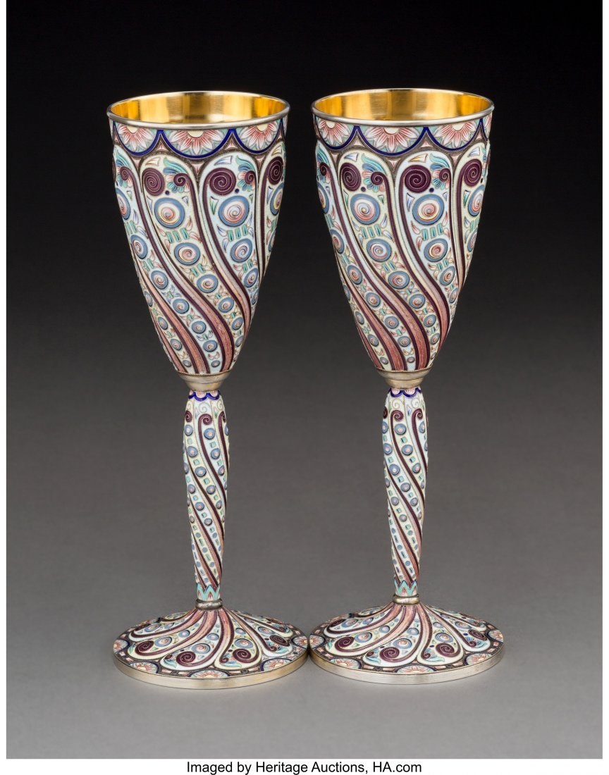 74052: A Pair of Russian Partial Gilt Silver and Enamel