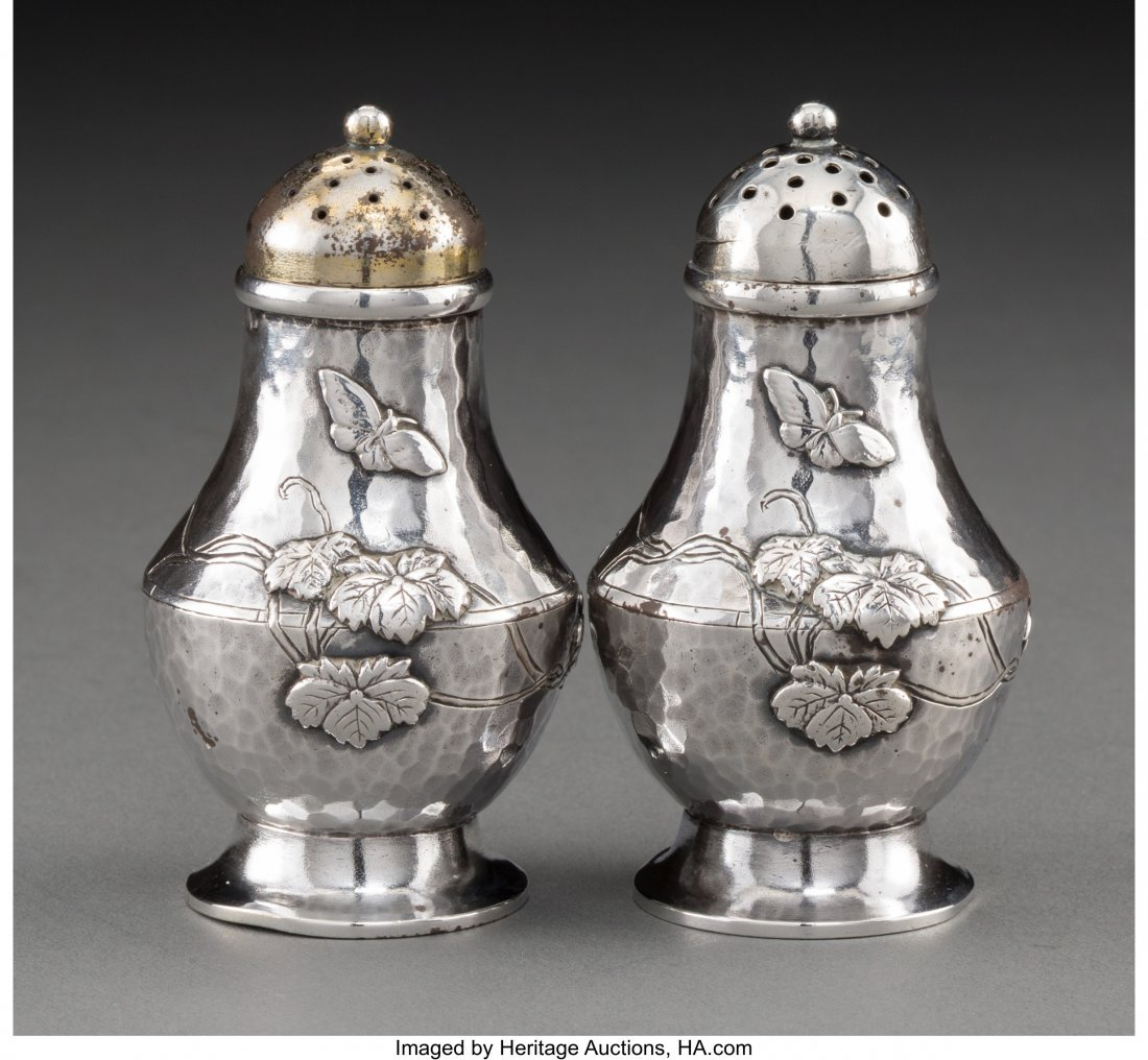 74109: A Pair of Tiffany & Co. Japanesque Silver Salt a