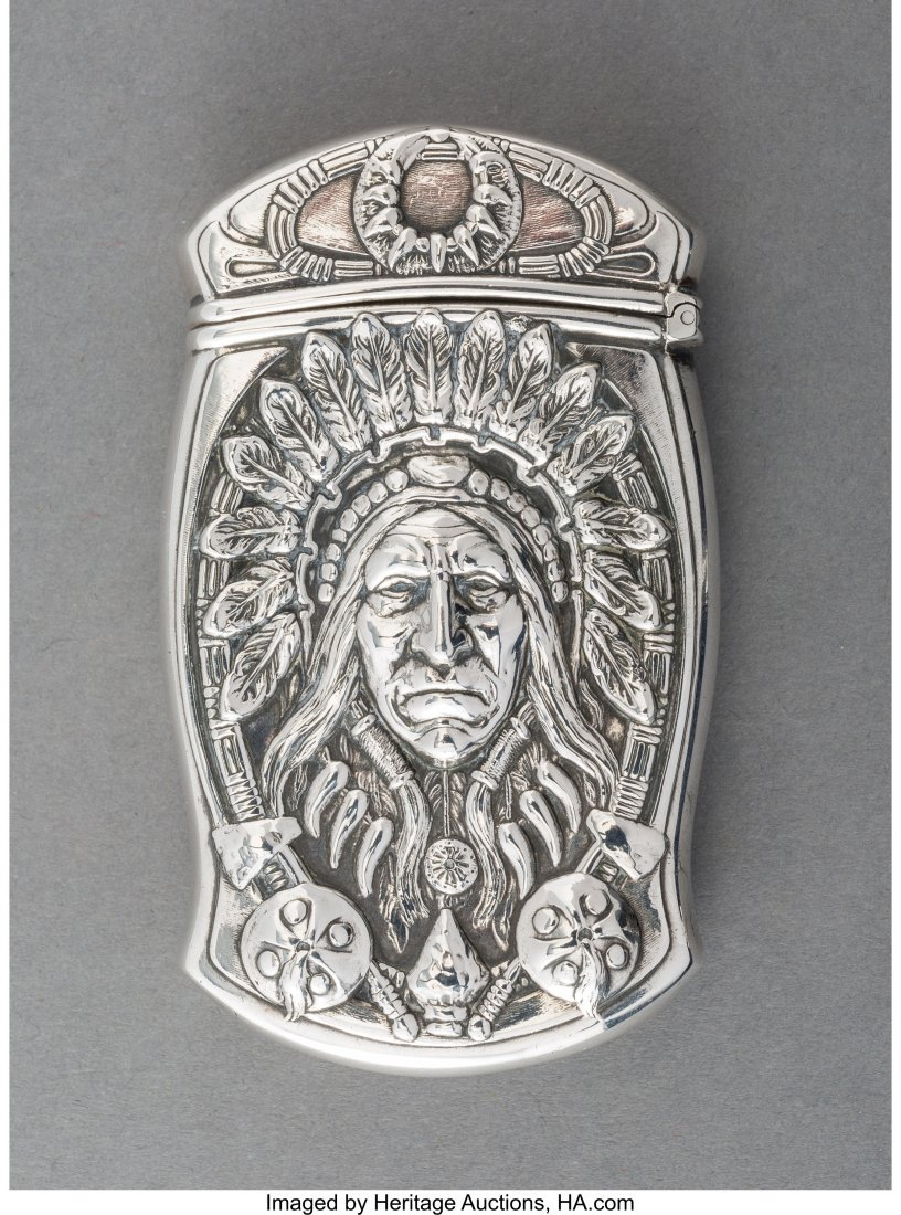 74112: A Gorham Silver Match Safe with Native American