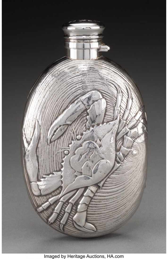 74115: A Gorham Aesthetic Movement Silver Flask with Cr